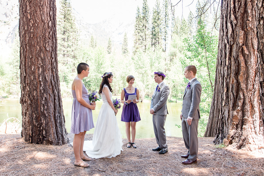 wedding ceremony at Cathedral Beach in Yosemite
