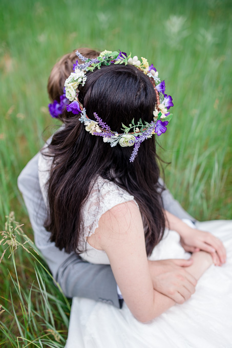 purple flower crown for outdoor wedding