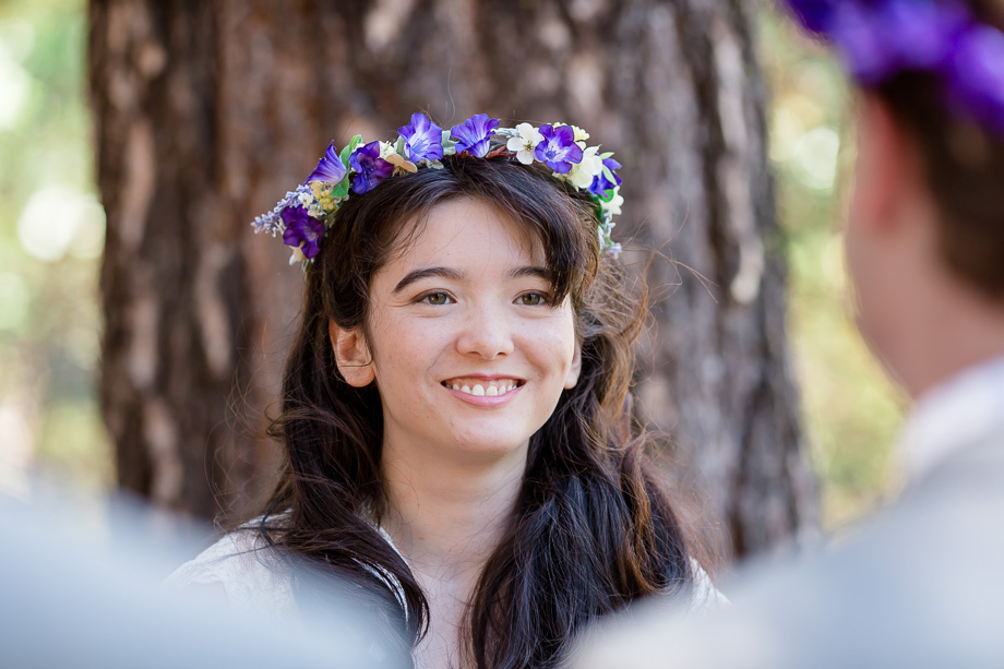 beautiful bride with a purple flower crown