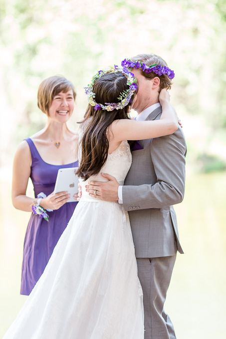 Yosemite real wedding - a passionate first kiss after being announced as husband and wife