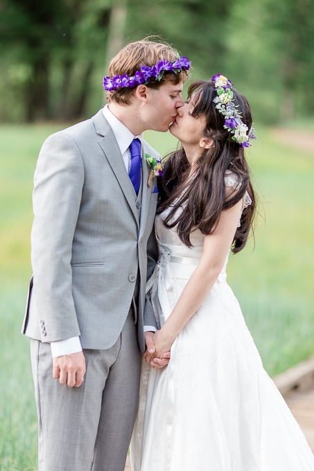 Yosemite bride and groom portrait with purple flower crown