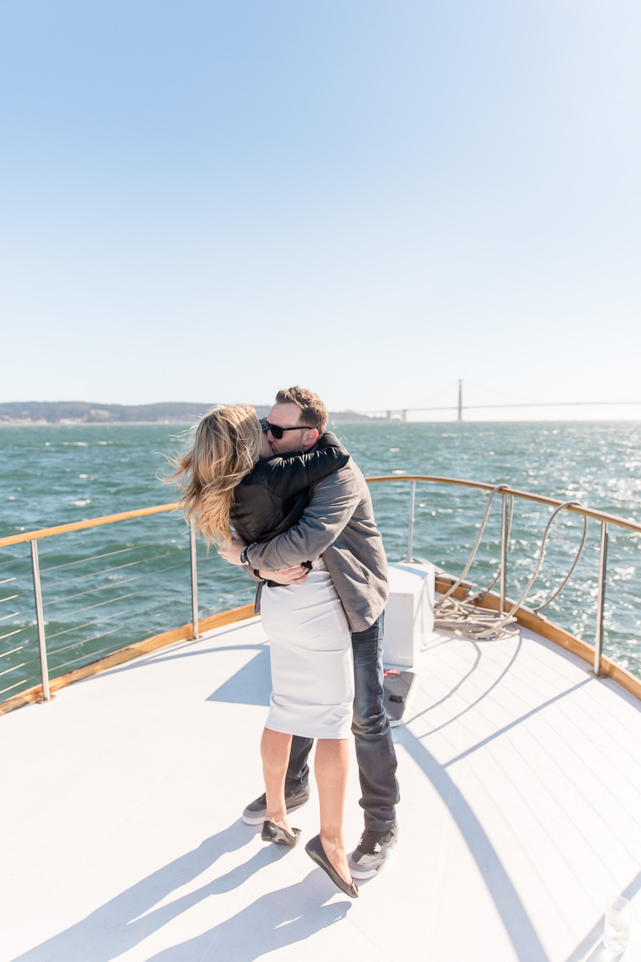 a sweet hug after the San Francisco charter yacht proposal