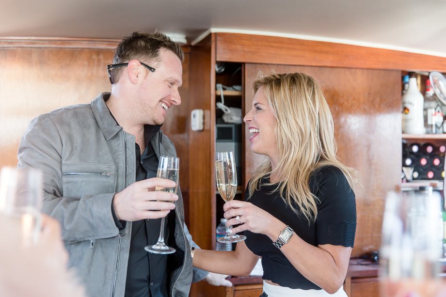 champagne toasts with friends after the San Francisco yacht proposal
