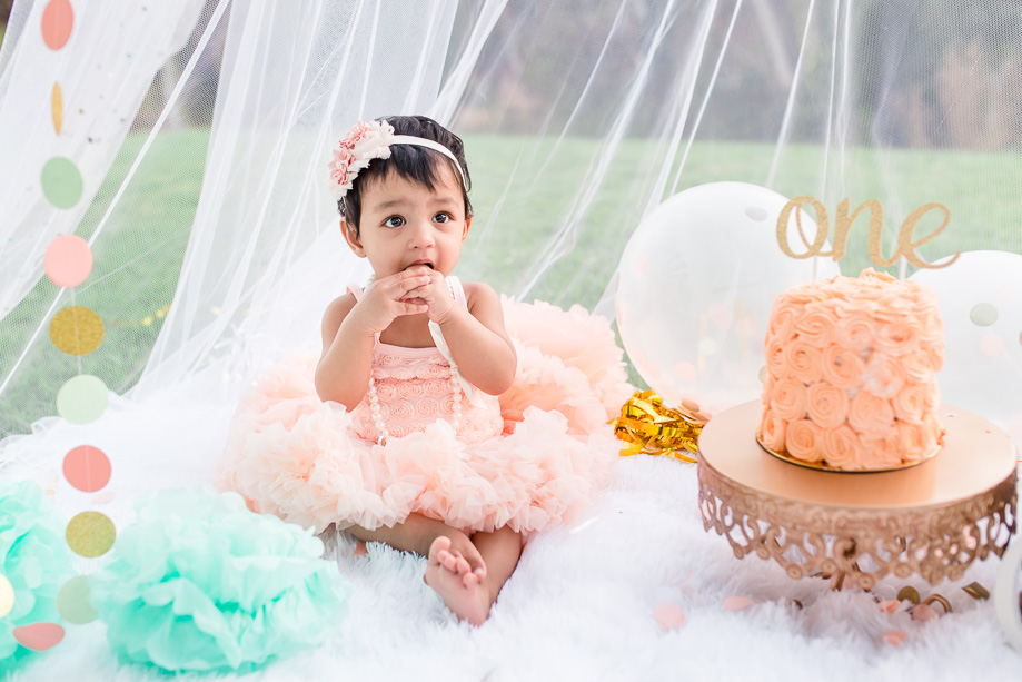 Aasmi One Year Birthday Cake Smash Bay Area Baby Photographer A