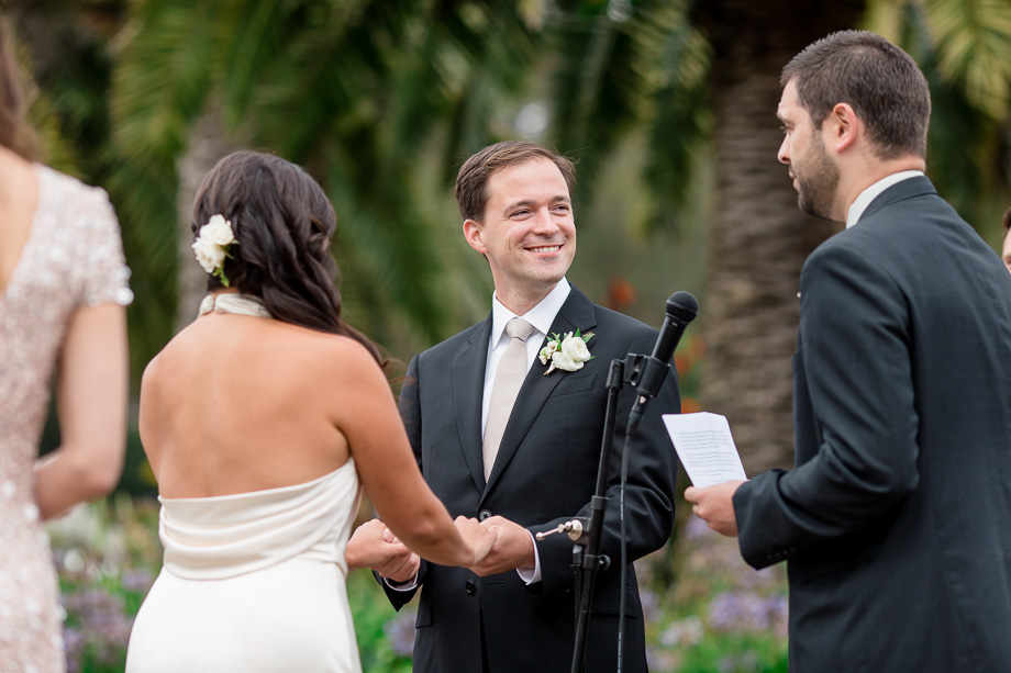 happy groom at the ceremony
