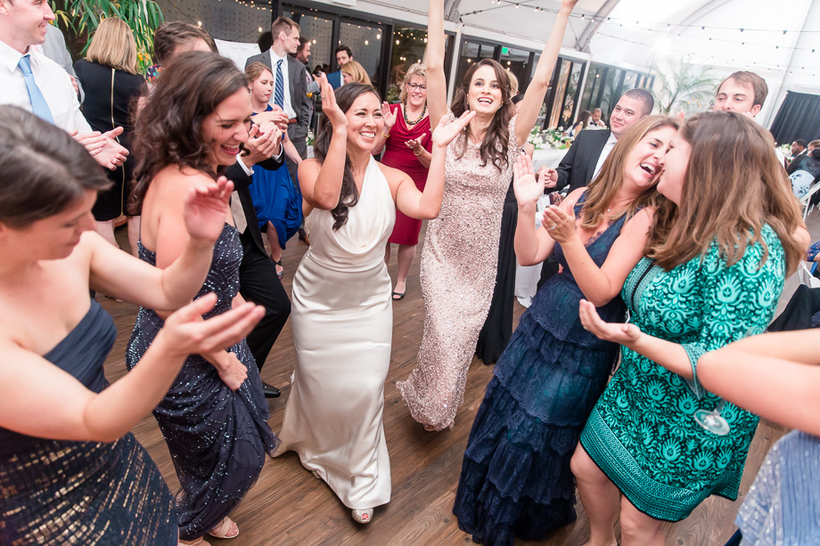 bride and girls owning the dance floor