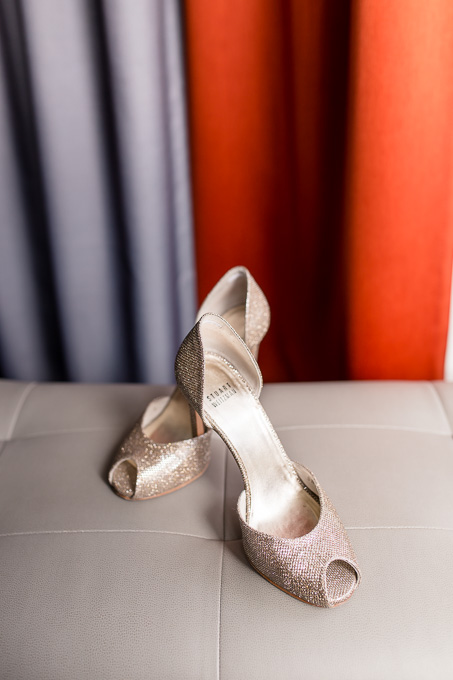 pretty champagne color bridal shoes