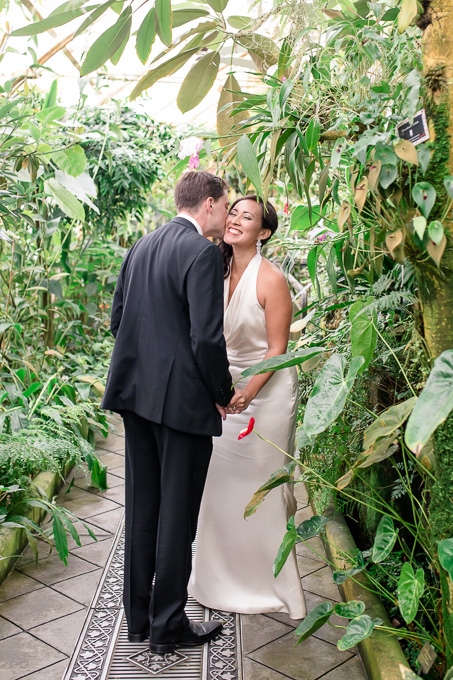 an intimate first look surrounded by beautiful green plants - san francisco garden wedding
