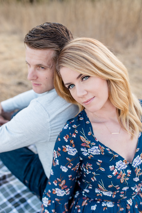 beautiful bride to be - picnic engagement photo