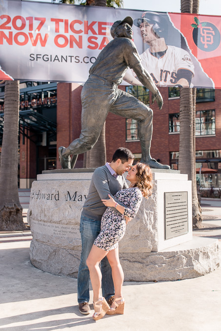 engagement portrait outside the stadium - home of the san francisco giants