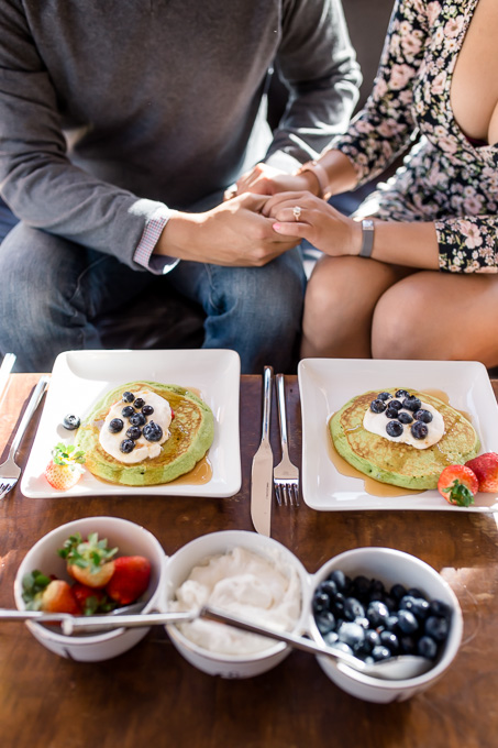 Home made spinach pancake with fresh fruits for a San Francisco in home engagement session