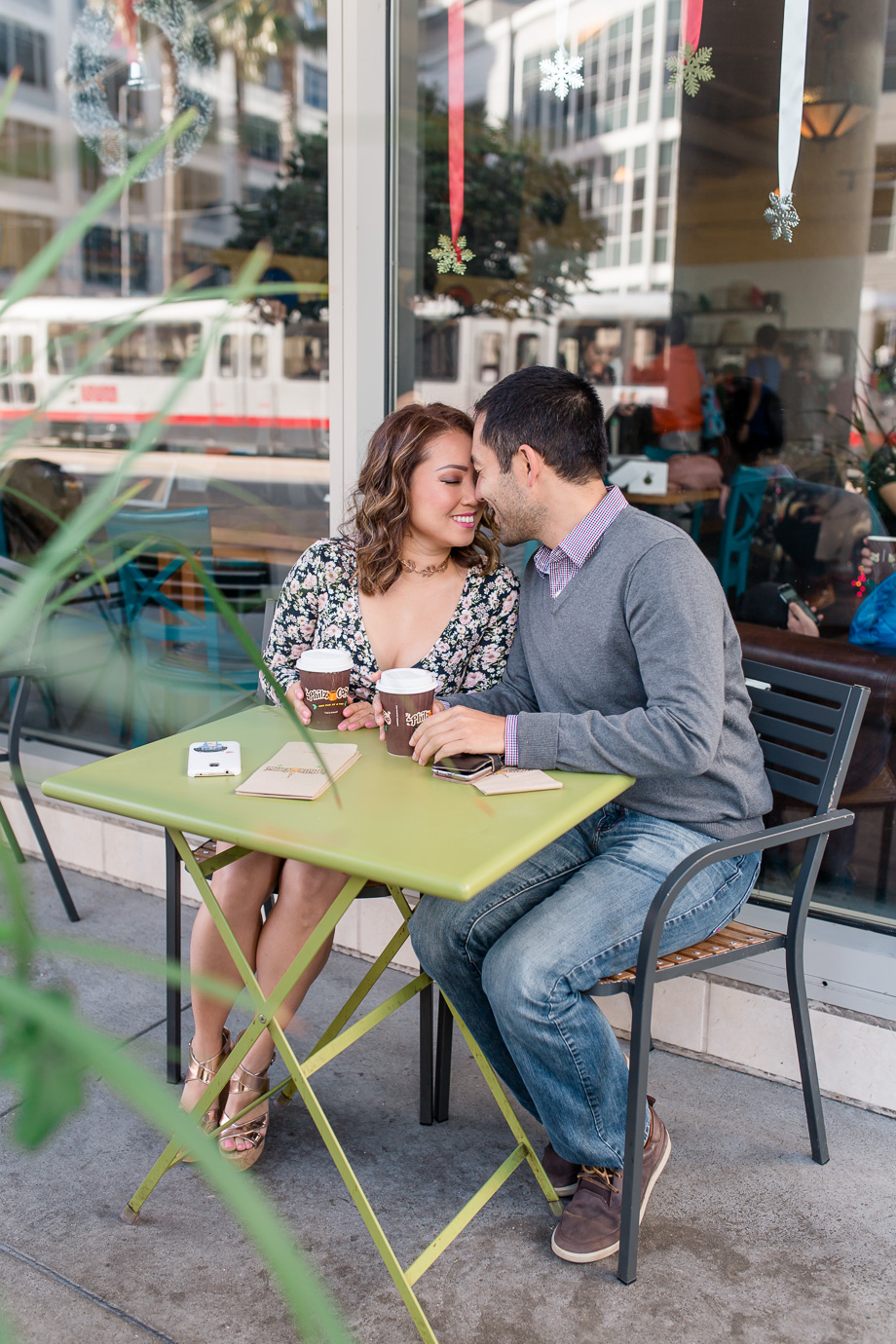 cute San Franciso downtown urban engagement photo at Philz coffee