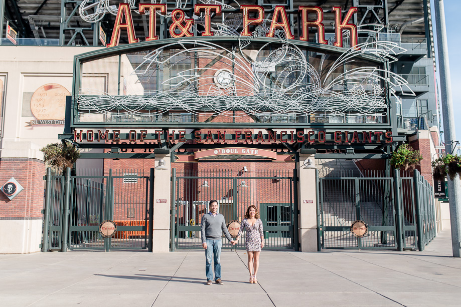 engagement photo at the AT&T stadium park