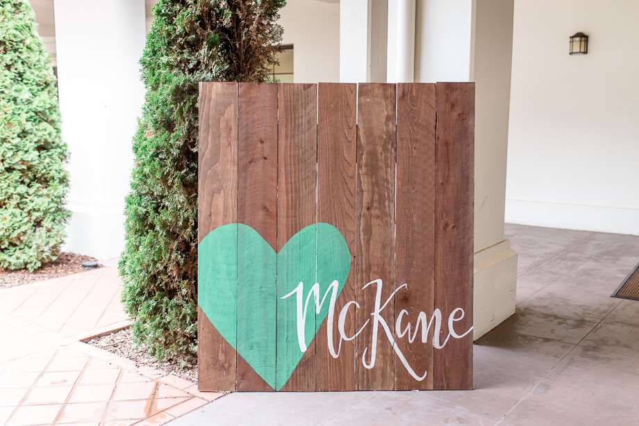 big wooden wedding welcome sign