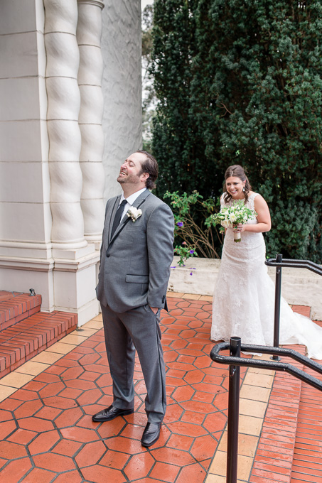 a precious first look moment for this san francisco wedding