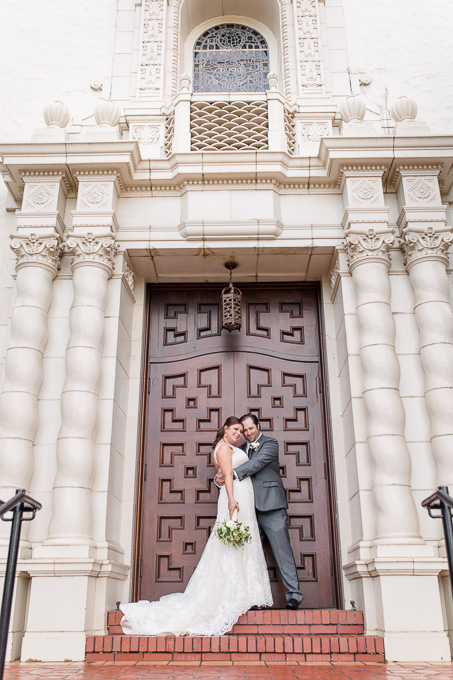 Presidio Chapel bride and groom wedding portrait