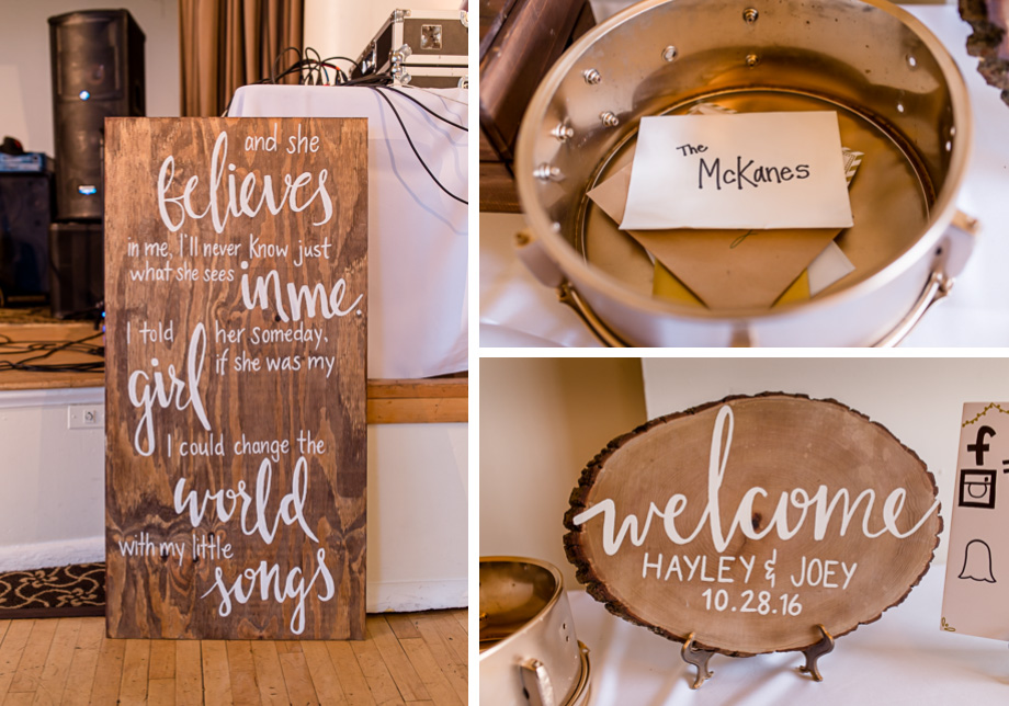 wooden and golden wedding signs and decor