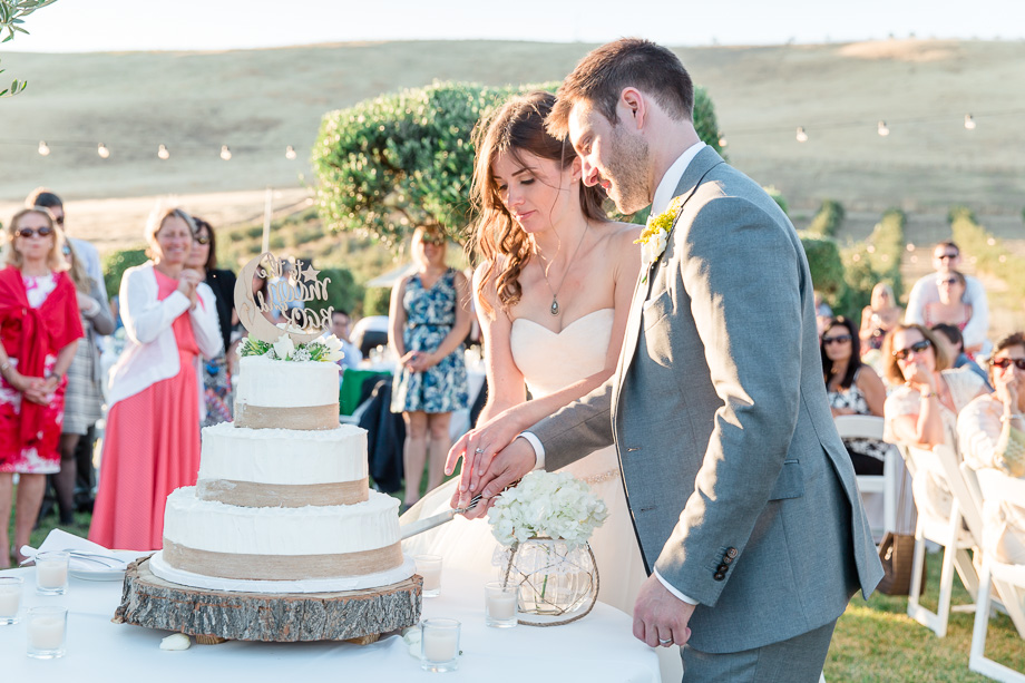 bride and groom cutting the cake - livermore outdoor wedding reception