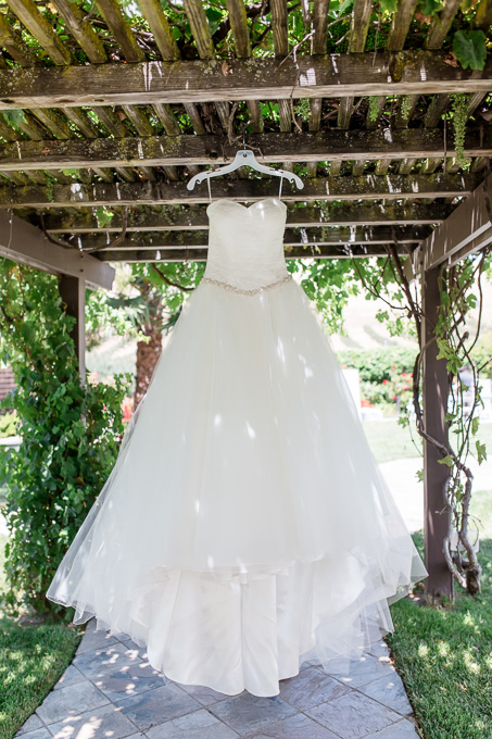 tulle wedding gown with beaded sash
