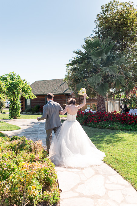 happy wedding recessional at purple orchid resort and spa