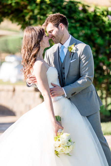 bride and groom kiss after wedding ceremony - livermore real wedding