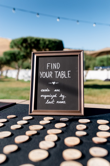 little rustic wooden escort cards for seating assignment - bay area wedding