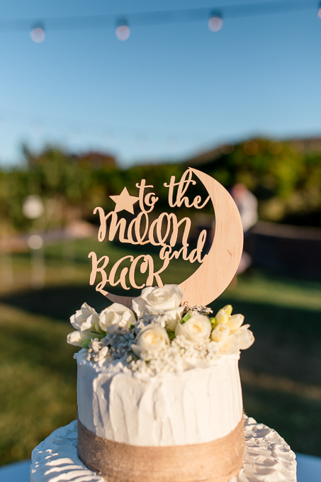 to the moon and back wooden wedding cake topper