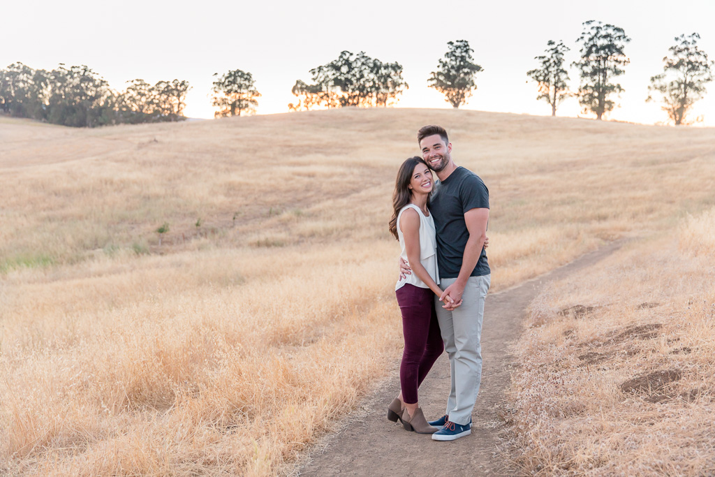 photo of a couple at Arastradero at sunset
