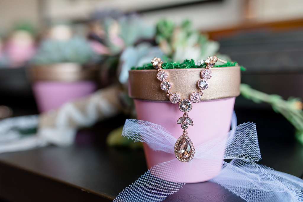 bridal jewelry on potted plant