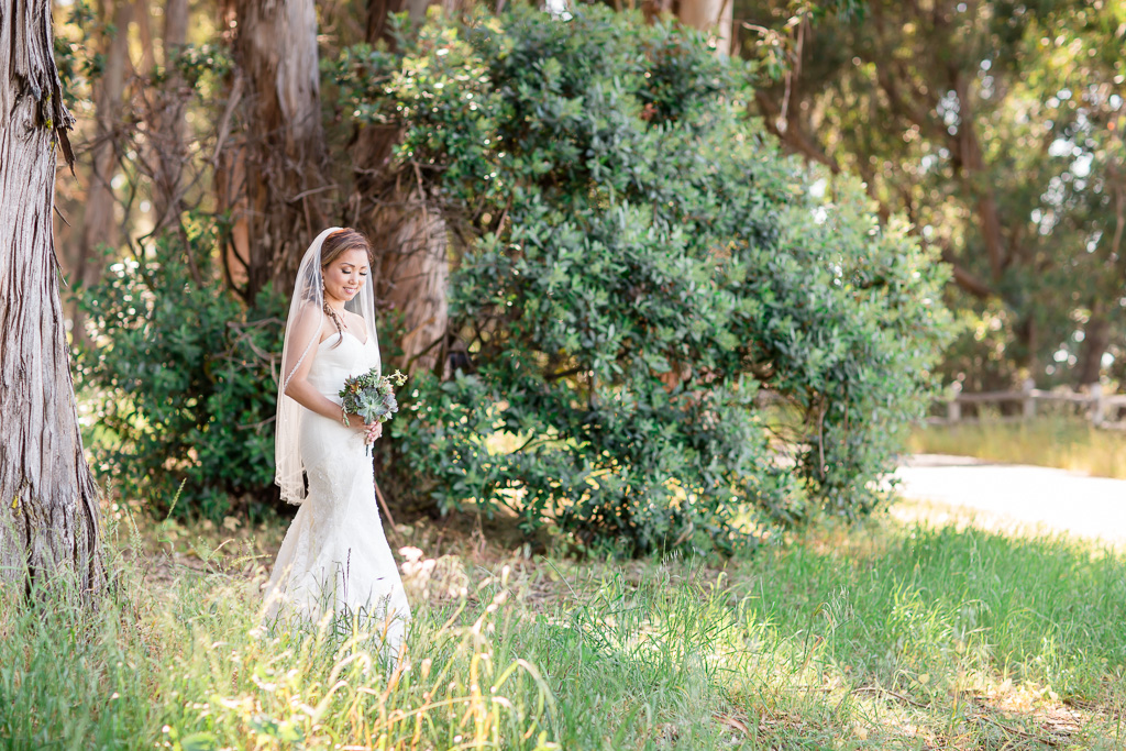 bridal portrait in wooded forest area