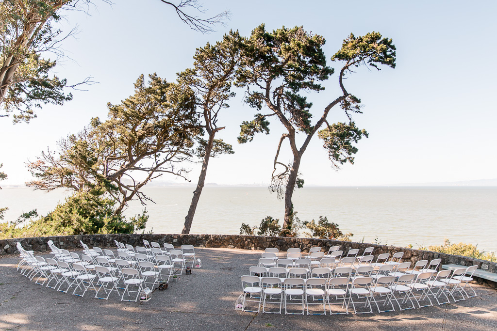 Coyote Point wedding ceremony chair setup