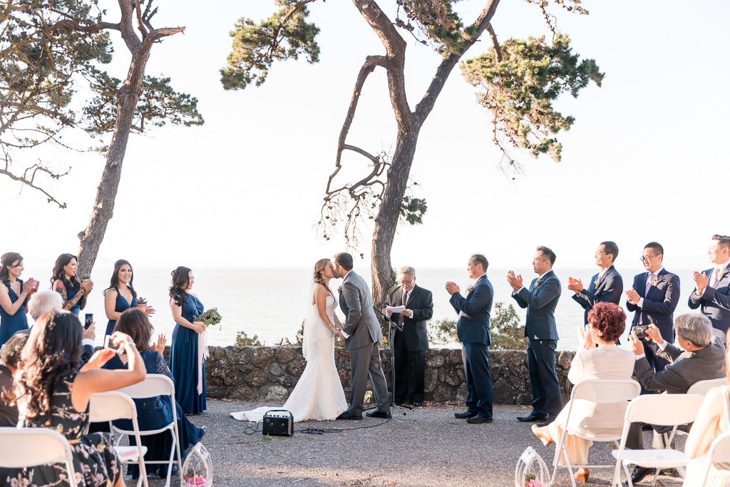first kiss of wedding ceremony at San Mateo Coyote Point