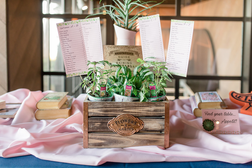 table seating chart and DIY potted plants