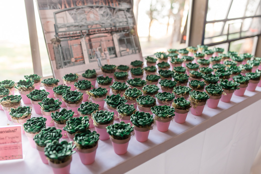 cute hand-made green paper succulent potted plants wedding favors