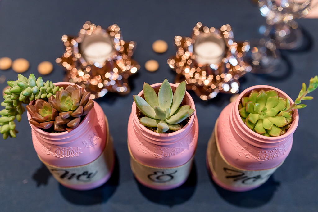 mr and mrs succulent flower plant wedding table decorations