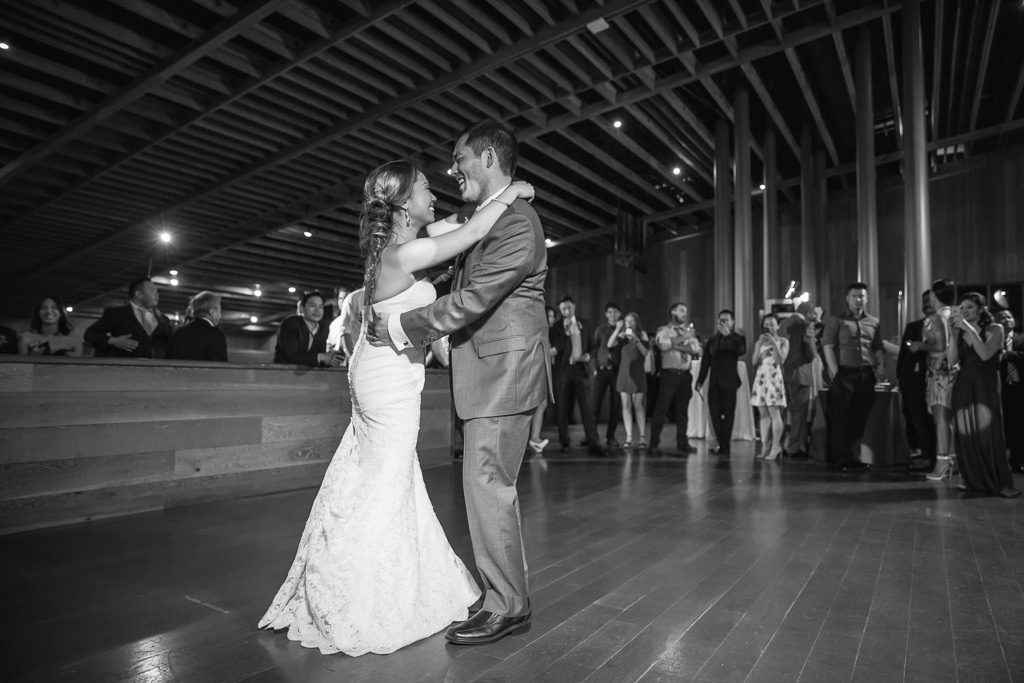 black and white CuriOdyssey first dance couple photo