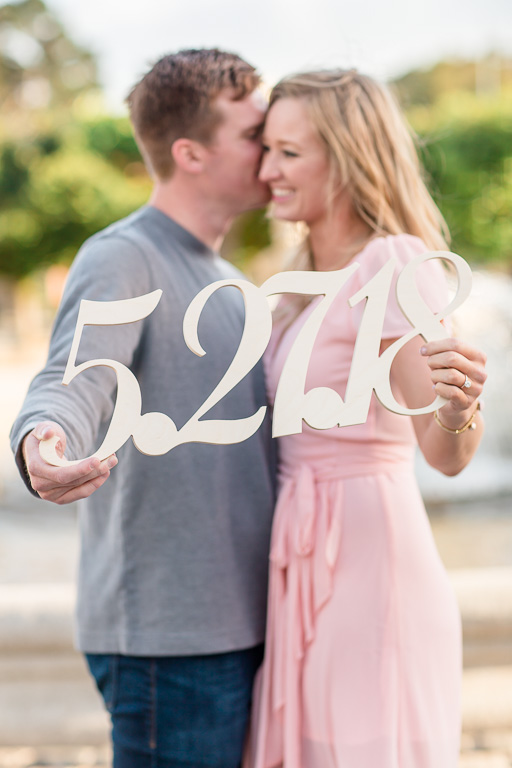 save-the-date photo idea with wooden sign