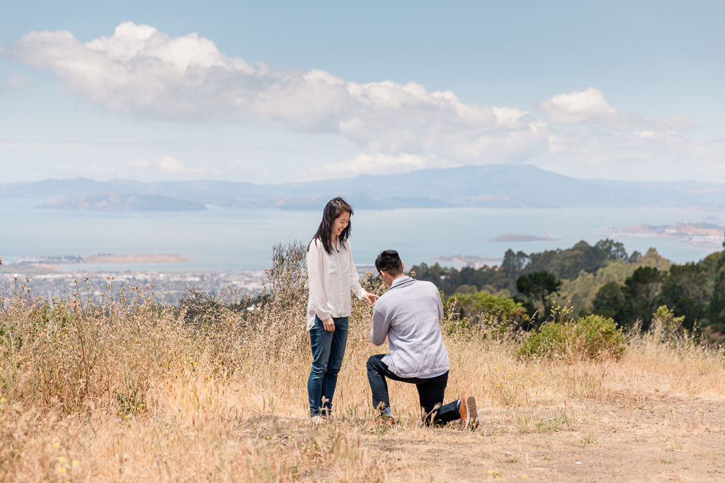 proposal at point overlooking Berkeley and Oakland