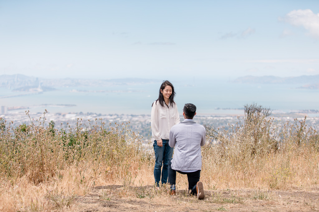 surprise engagement at view point looking down at San Francisco Bay Area