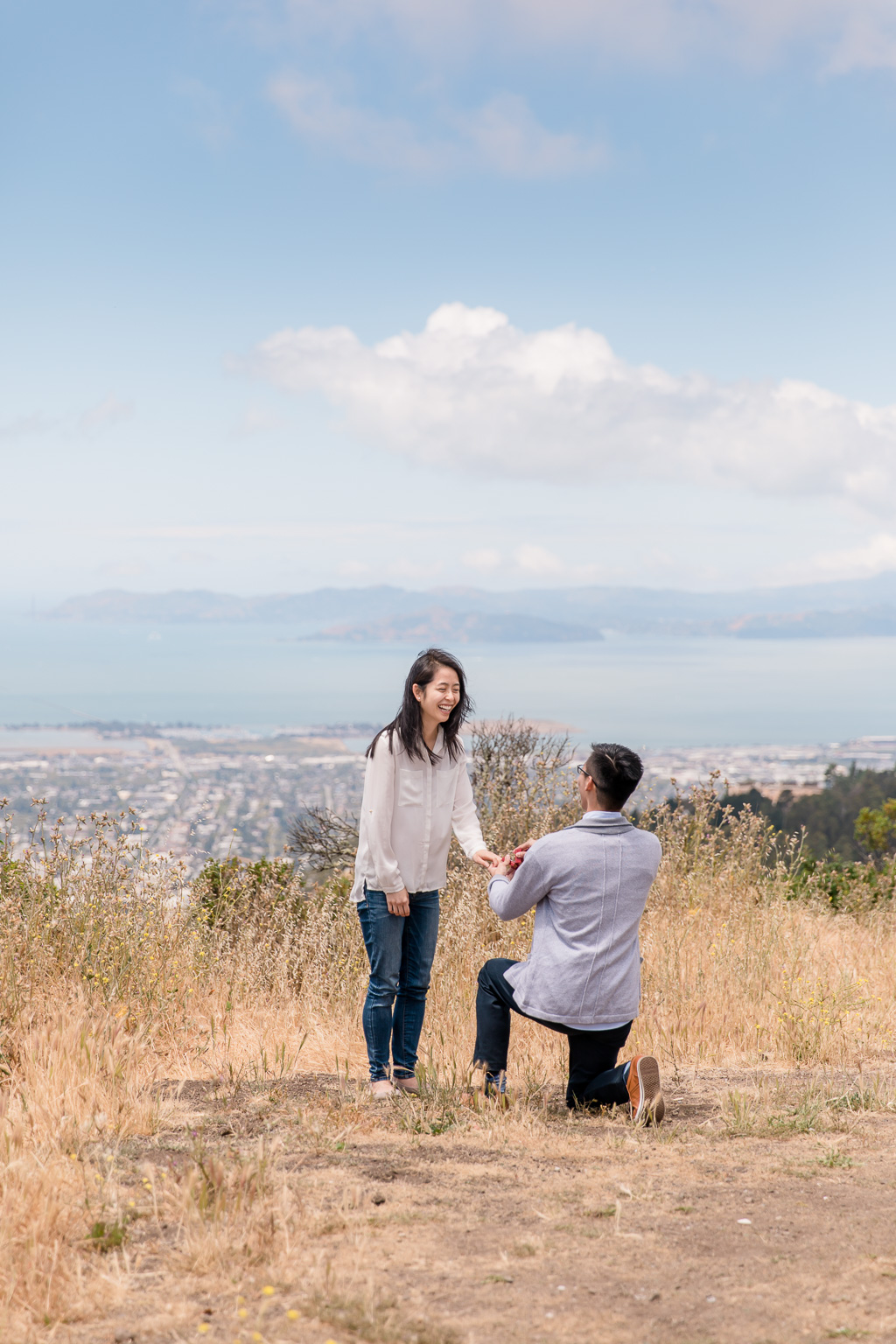 beautiful marriage proposal happy reaction at UC Berkeley