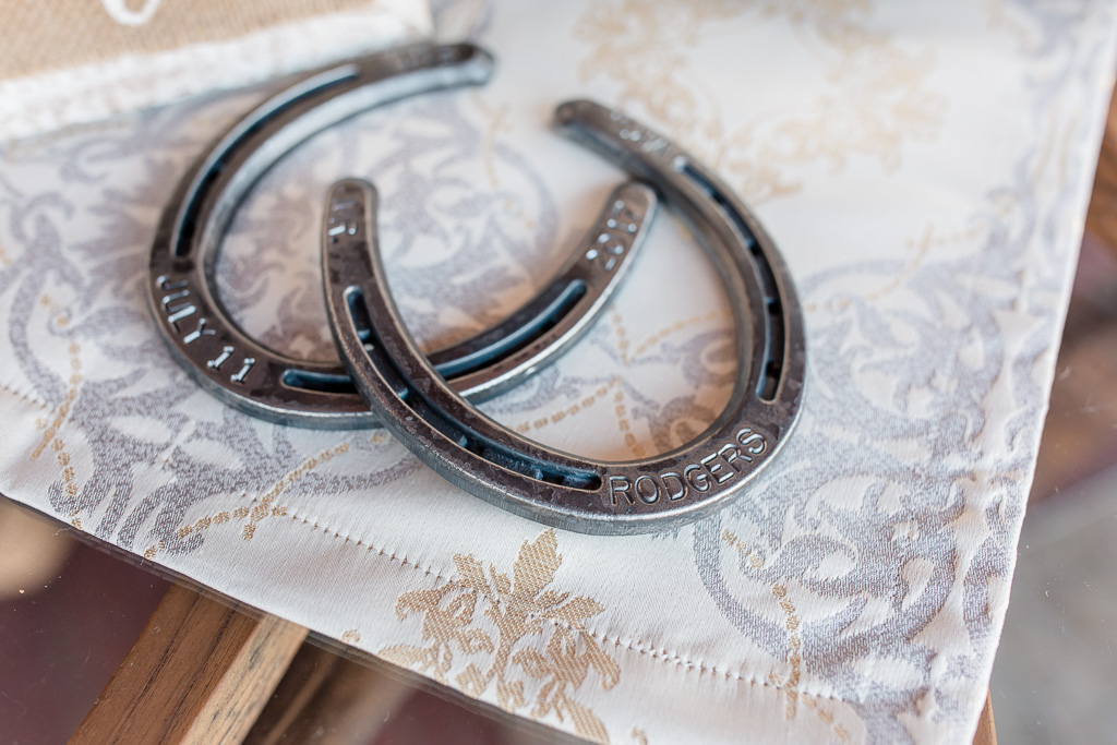 customized engraved horseshoes with wedding date and last name