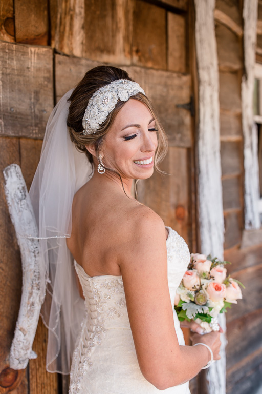 gorgeous bride at a rustic farm setting