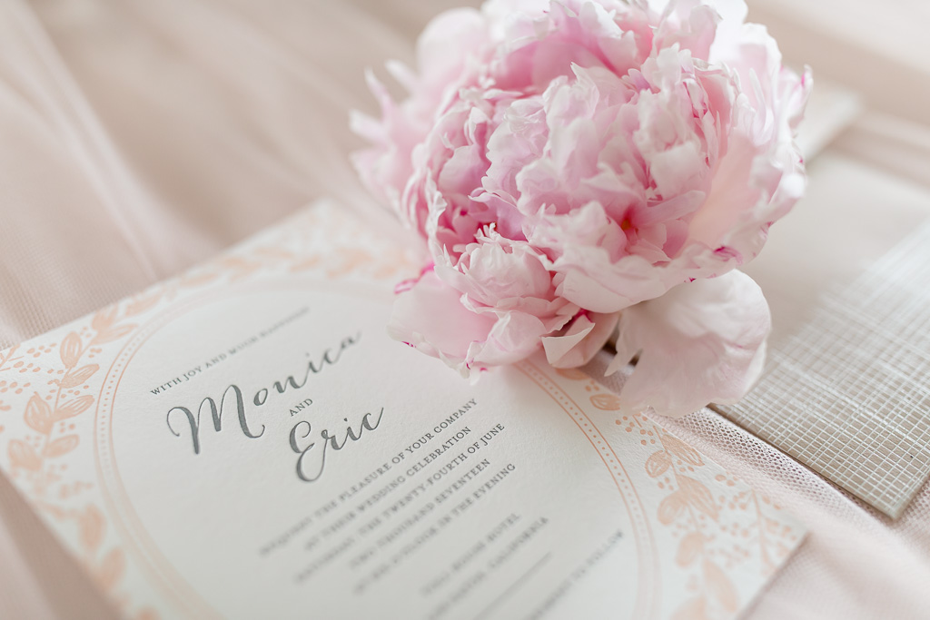 elegant invitation with pink peony