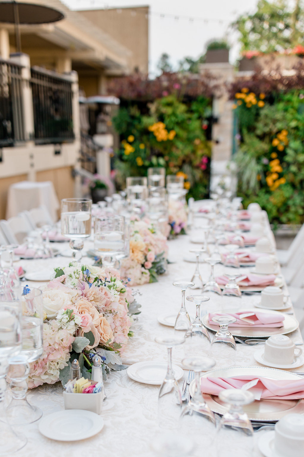 wedding long table centerpieces and settings