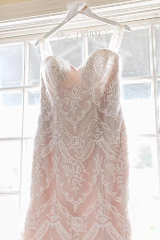 beautiful blush lace wedding gown