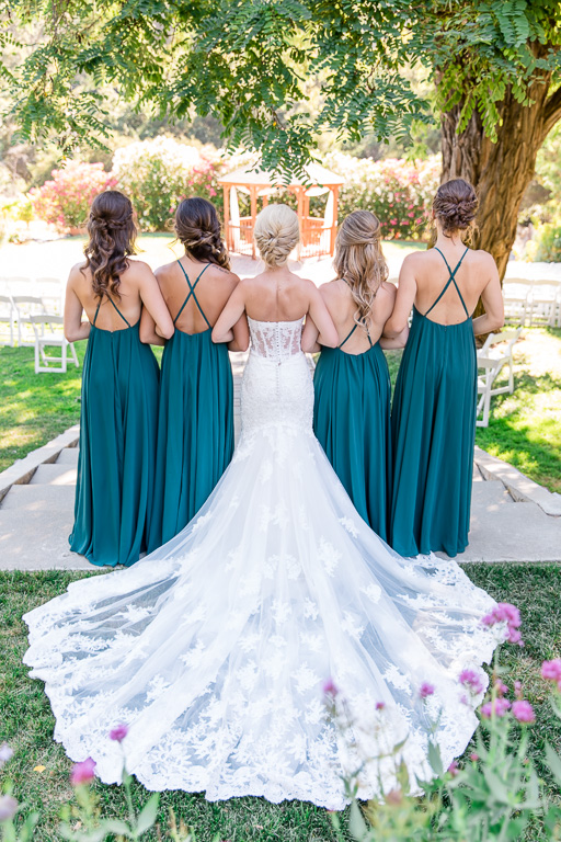 a photo from the back of the bride and her bridesmaids