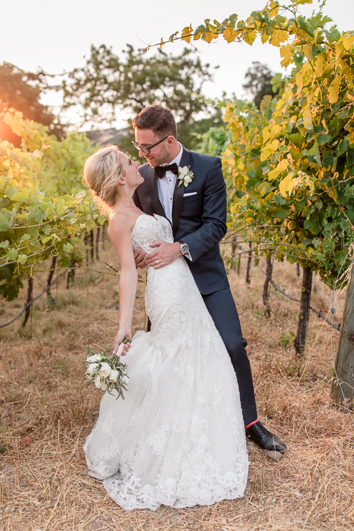 sunset bride and groom photo inside the Elliston vineyards