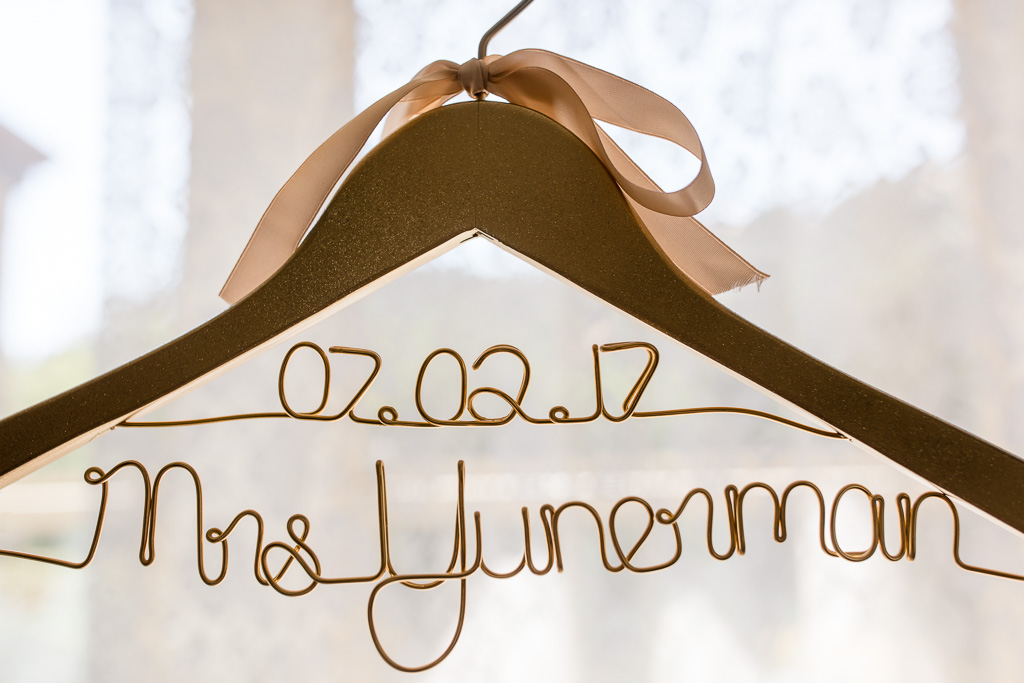 customized golden sparkly wedding dress hanger with wedding date
