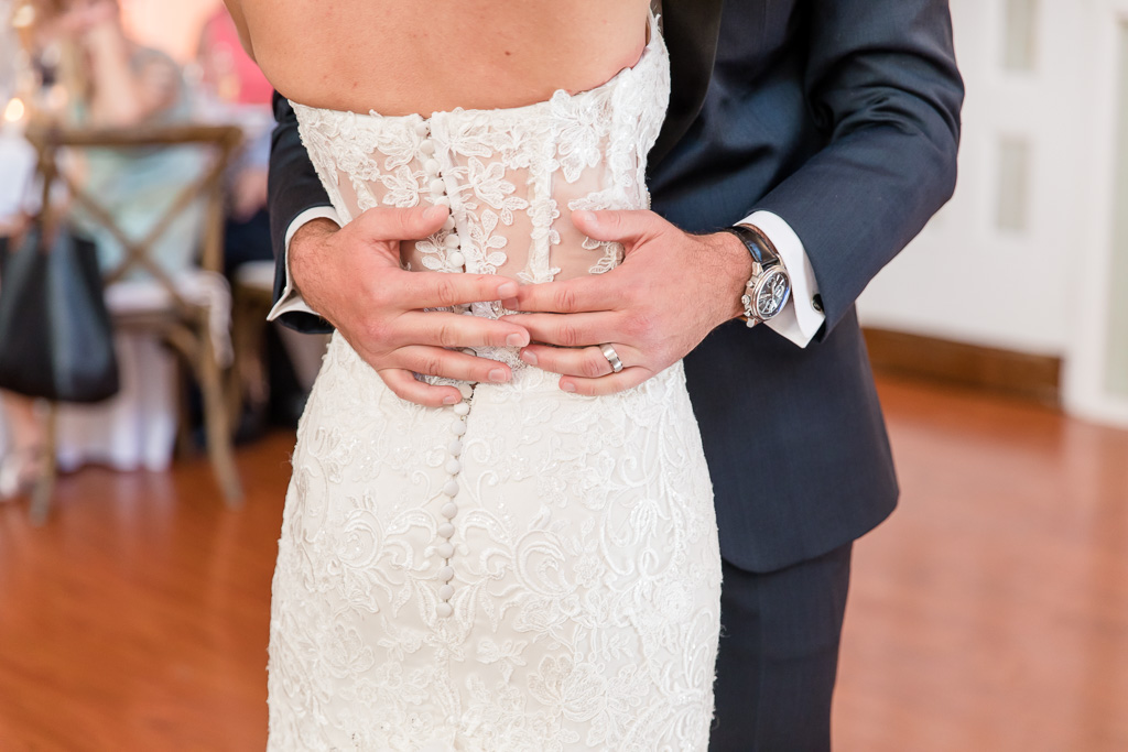 closeup photo of couple's first dance