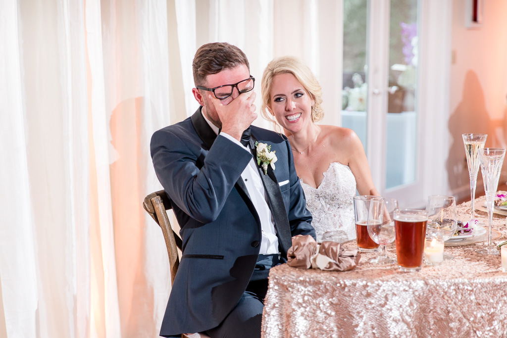 groom laughed so hard that he cried at the reception